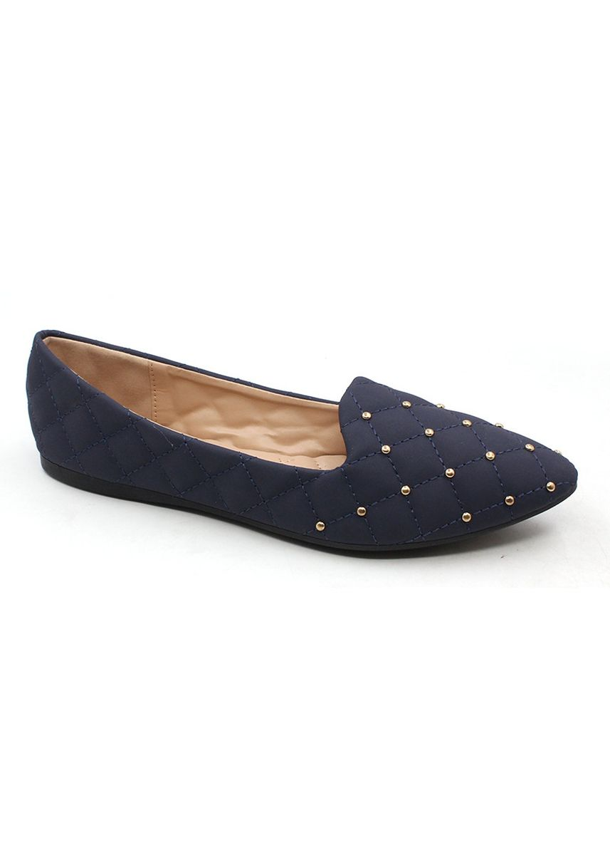 Navy color Casual Shoes . Velvet Slip On Pointed Shoes With Gold Beads -