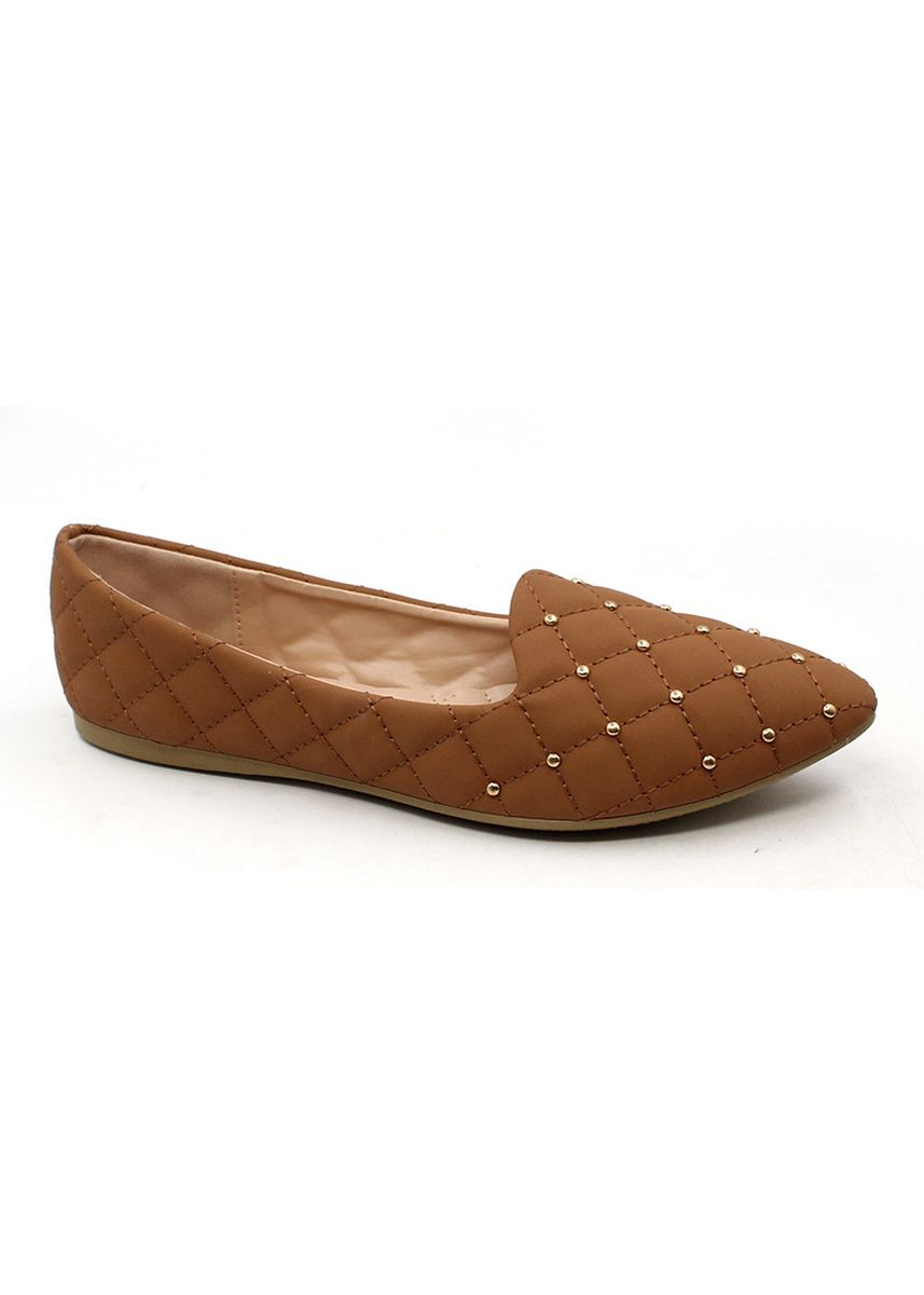 Beige color Casual Shoes . Velvet Slip On Pointed Shoes With Gold Beads -