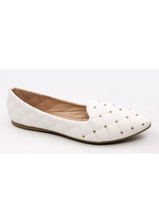 White color Casual Shoes . Velvet Slip On Pointed Shoes With Gold Beads -