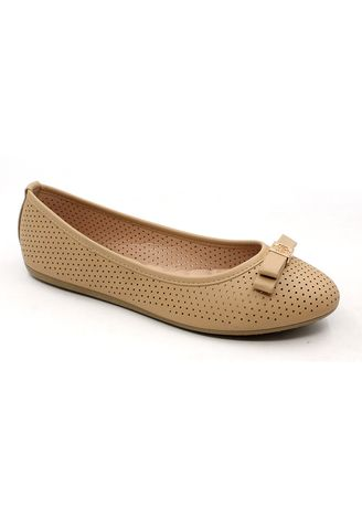Beige color Casual Shoes . Synthetic Leather Slip On Shoes With Bow -