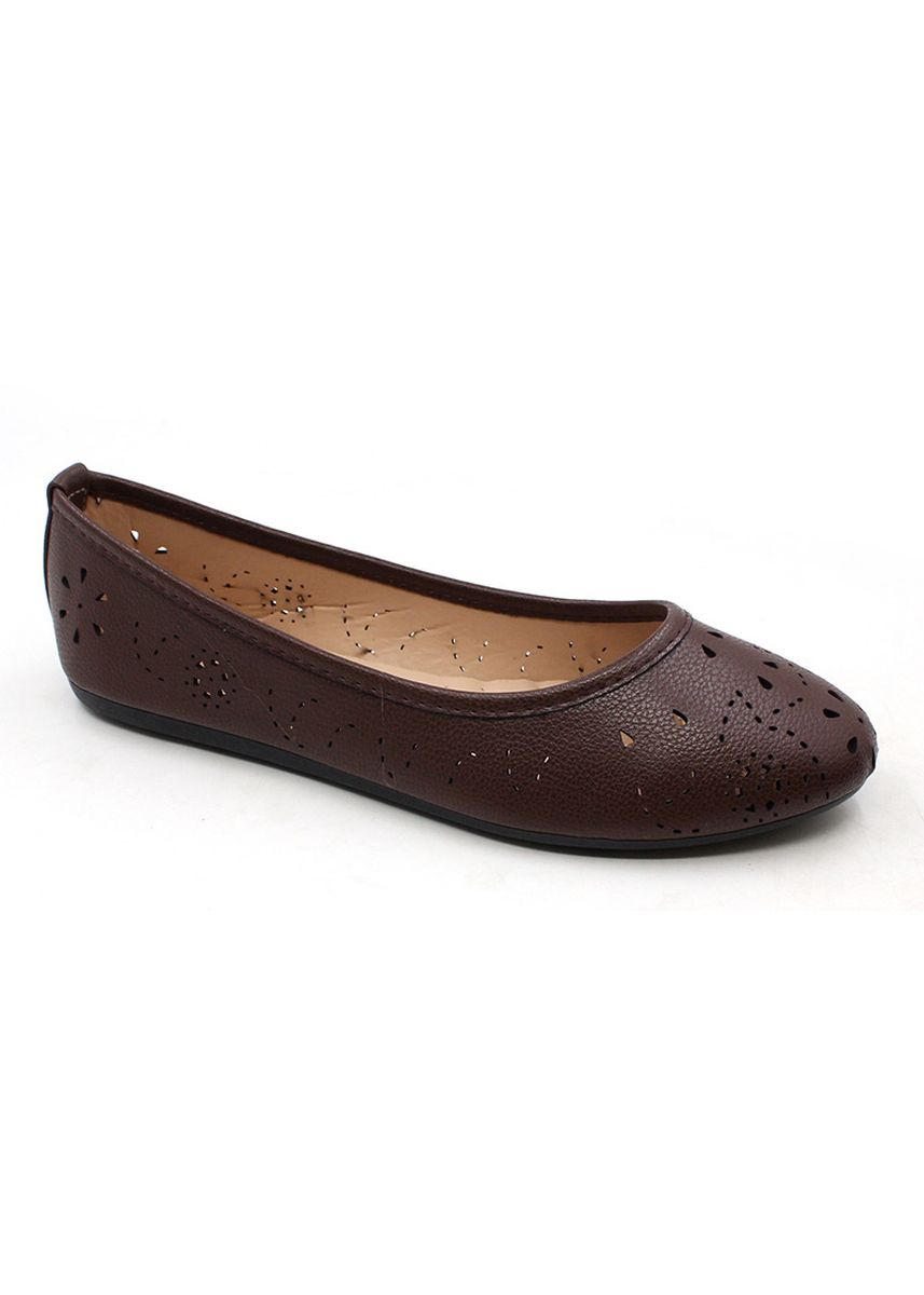 Brown color Casual Shoes . Genuine Leather Slip On Cut Out Shoes -