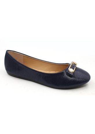 Navy color Casual Shoes . Synthetic Leather Slip On Shoes With Buckle -