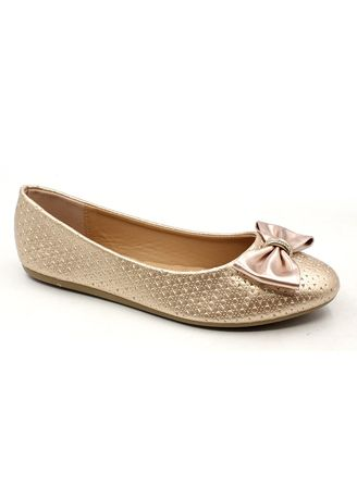 Gold color Casual Shoes . Patent Leather Slip On Shoes With Big Bow -