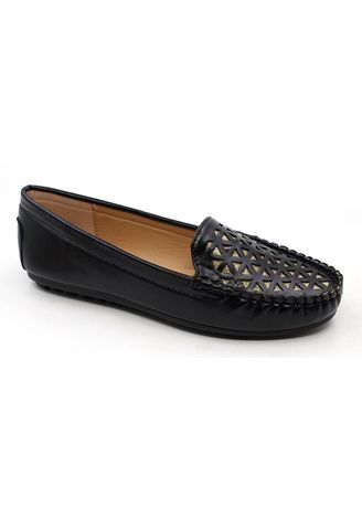 Black color Casual Shoes . Synthetic Leather Slip On Loafers With Triangular Pattern -