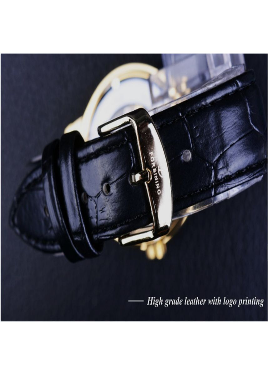 Black color Analog . Men's Black Mechanical Watch High Quality Casual Leather Watch -