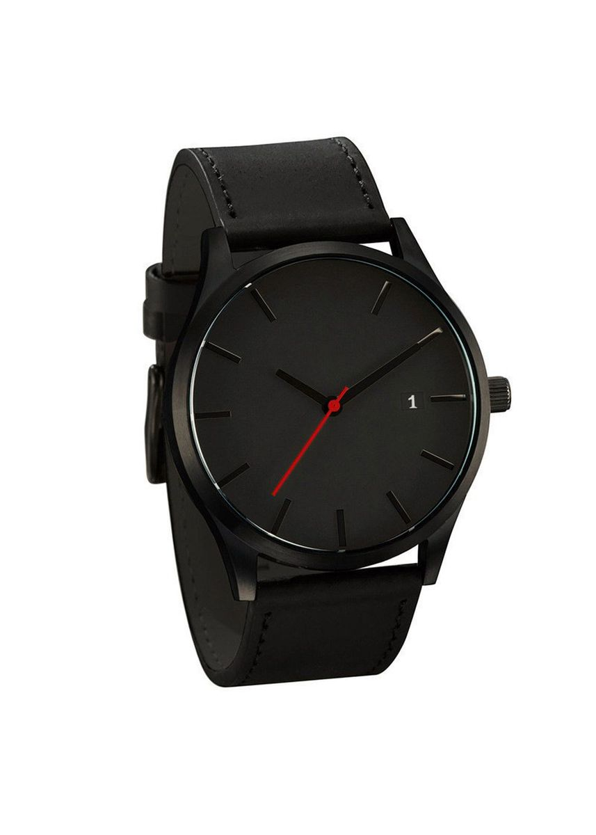 Black color Analog . Men's Black Outdoor Watch Frosted Leather Watch -