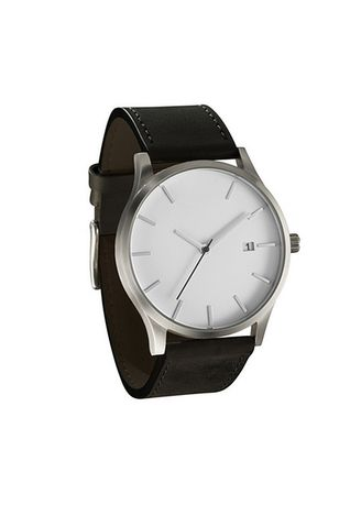Black color Analog . Men's Black Outdoor Business Frosted Leather Watch -