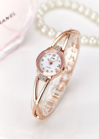 Pink color Analog . Women's Rose Gold Alloy Bracelet Waterproof Quartz Watch -