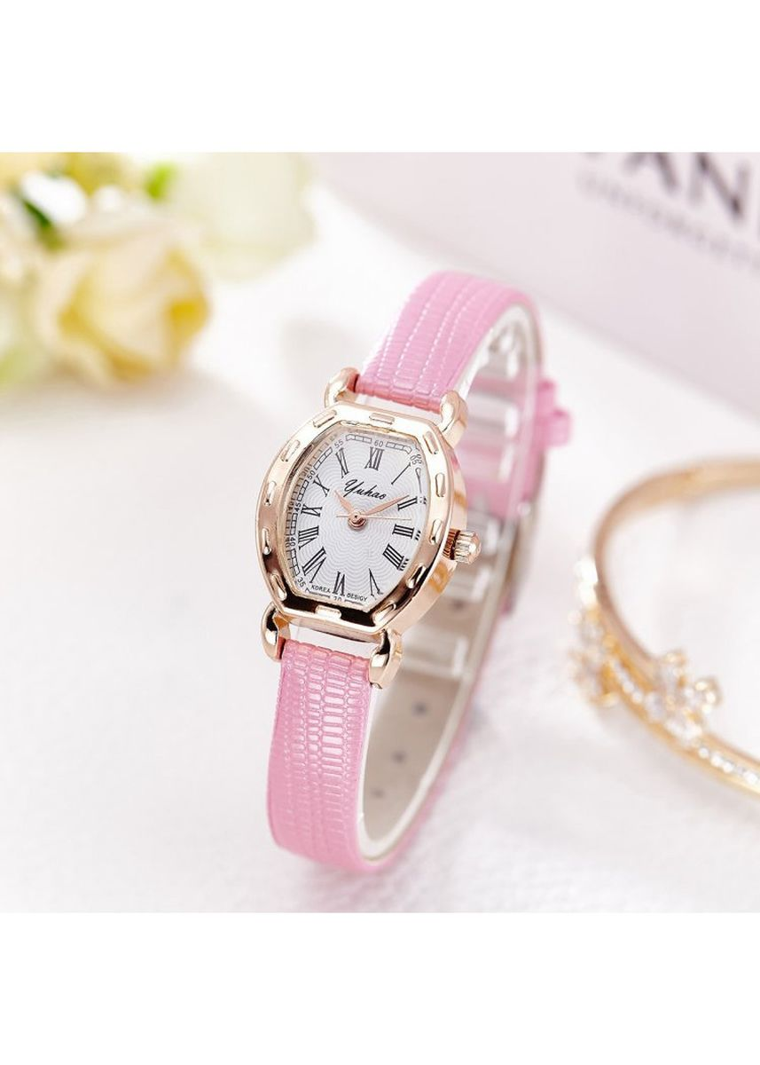 Pink color Analog . Women's Pink And Gold Retro Watch Oval Roman Digital Belt Watch -