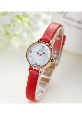 Red color Analog . Women's Red Retro Slim Strap Watch -