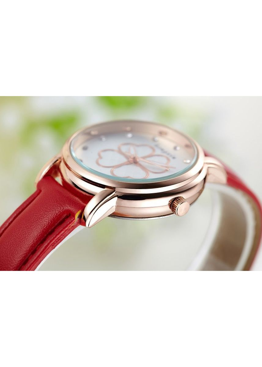 Red color Analog . Women's Red Clover Leather Strap Waterproof Quartz Watch -