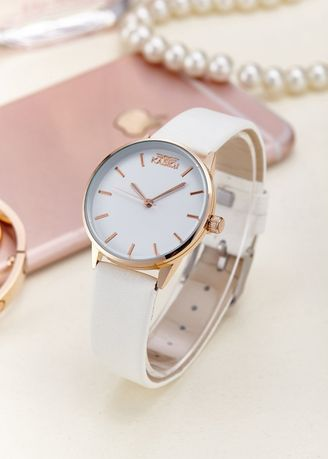 White color Analog . Women's White Ultra Slim Casual Leather Strap Watch -