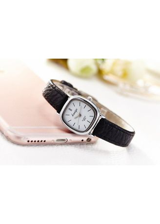 Black color Analog . Women's Black Square Small Dial Waterproof Quartz Leather Wrist Watch -