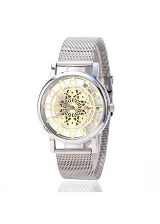 Silver color Analog . Women's Silver Hollow Out Mechanical Watch Alloy Mesh Belt Sunflower Watch -