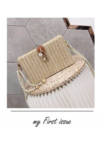 Beige color Sling Bags . Single Strap Straw Shoulder Bag -