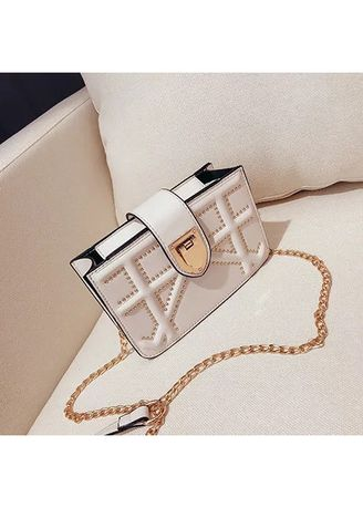 White color Sling Bags . Small Single Strap Studded Leather Shoulder Bag -