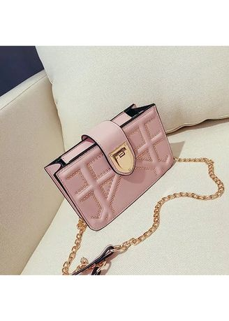 Pink color Sling Bags . Small Single Strap Studded Leather Shoulder Bag -