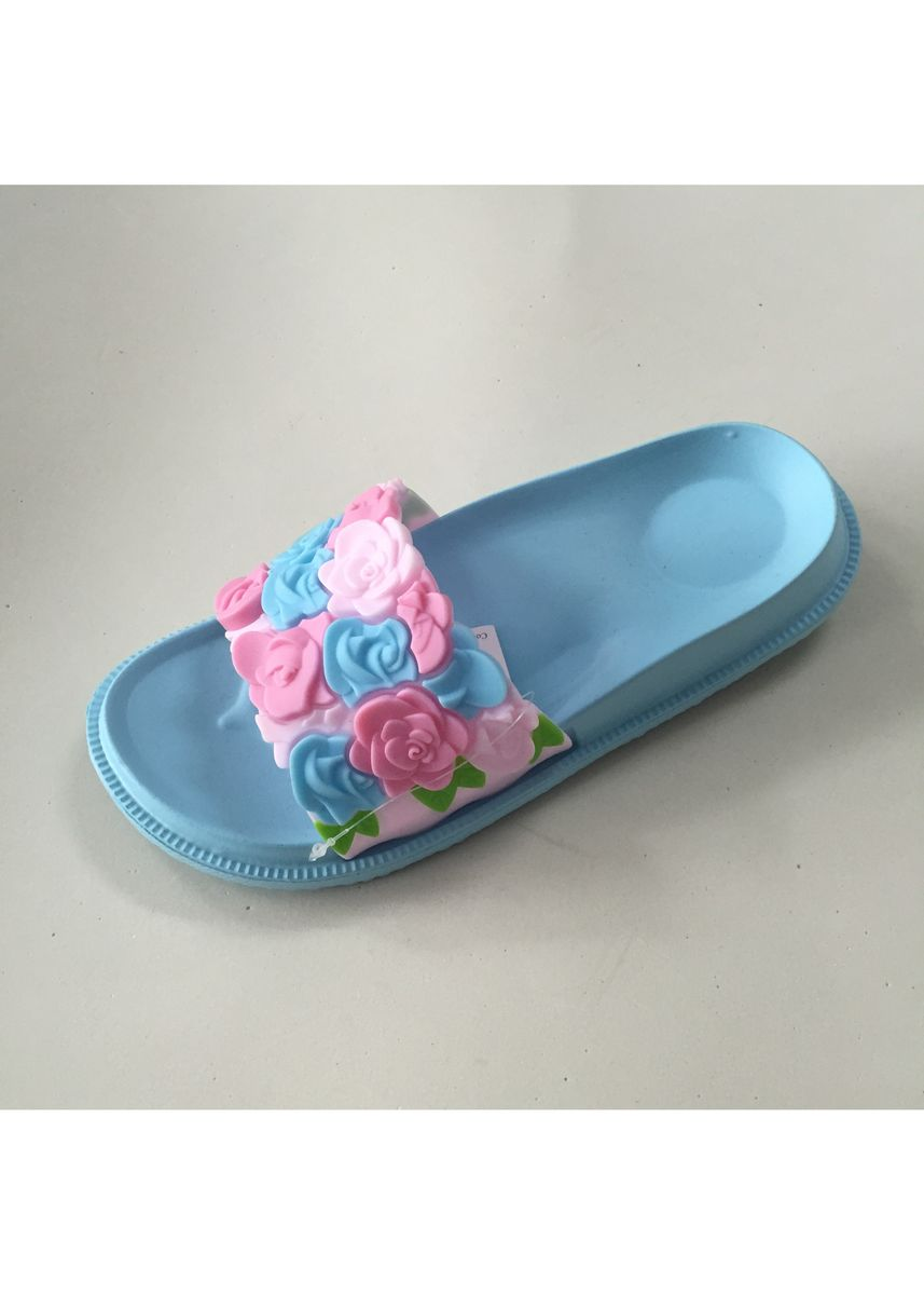 Light Blue color Sandals and Slippers . Slip On Women's Slipper With Flower Detail -