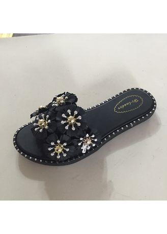 Black color Sandals and Slippers . Synthetic Leather Women's Slipper -