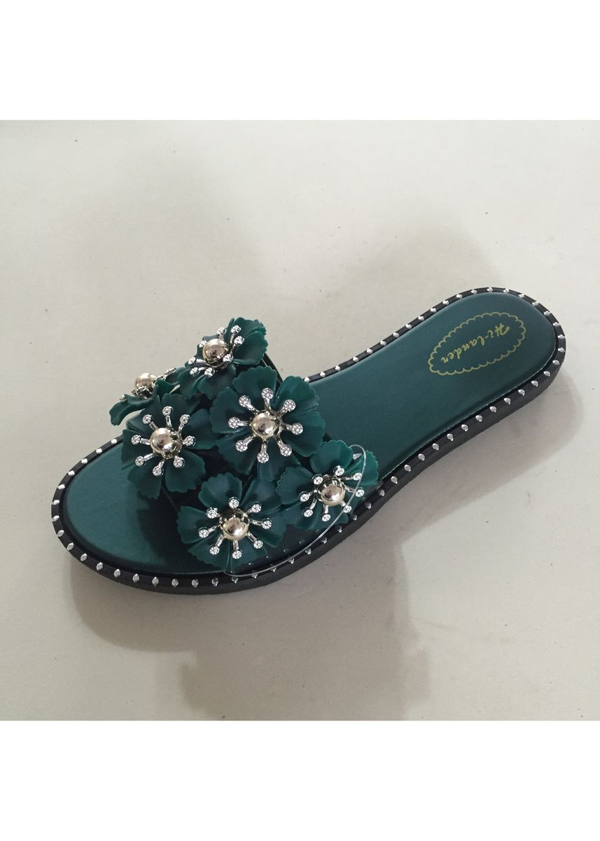 Green color Sandals and Slippers . Synthetic Leather Women's Slipper -