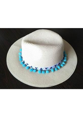 Brown color Hats . Women's Summer Beach Straw Hat With Pompoms -