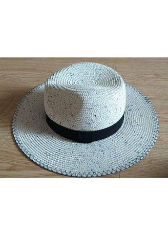 Light Grey color Hats . Women's Panama Hat With Band -