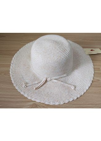 Beige color Hats . Women's Floppy Curvy Edged Hat With Band -