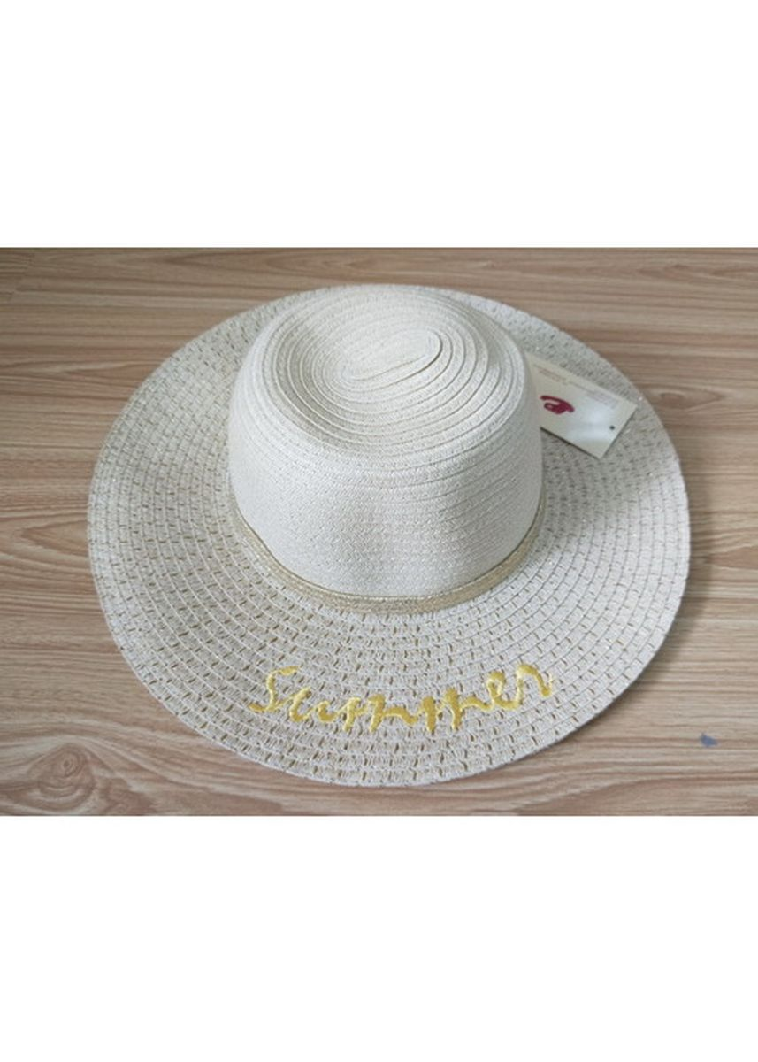 White color Hats . Women's White Floppy Hat With Embroidery -
