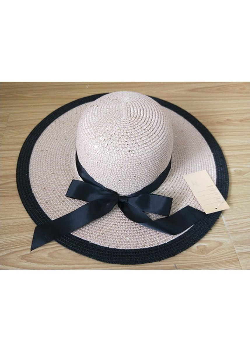 Beige color Hats . Women's Floppy Hat With Black Bow -