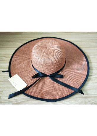 Tan color Hats . Women's Floppy Hat With Black Band -