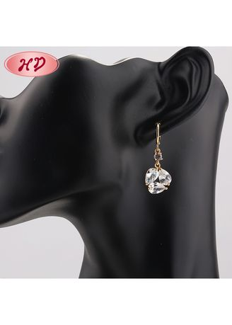 White color  . Round-Shaped Earrings -