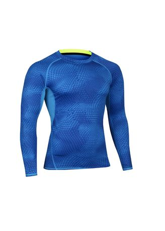 Blue color Sports Wear . Men's Side Lined Compression Top -