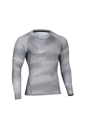 Light Grey color Sports Wear . Men's Side Lined Compression Top -