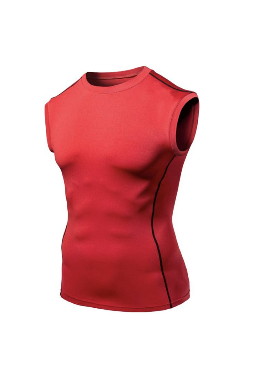 Red color Sports Wear . Men's Sleeveless Fitted Compression Top -