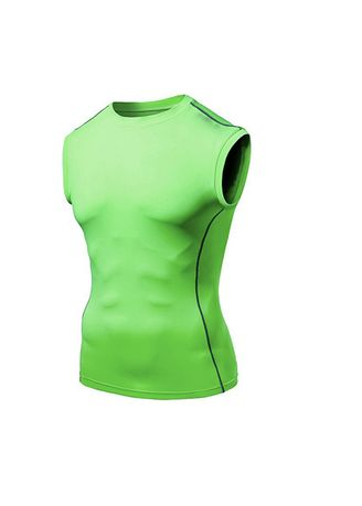 Green color Sports Wear . Men's Sleeveless Fitted Compression Top -
