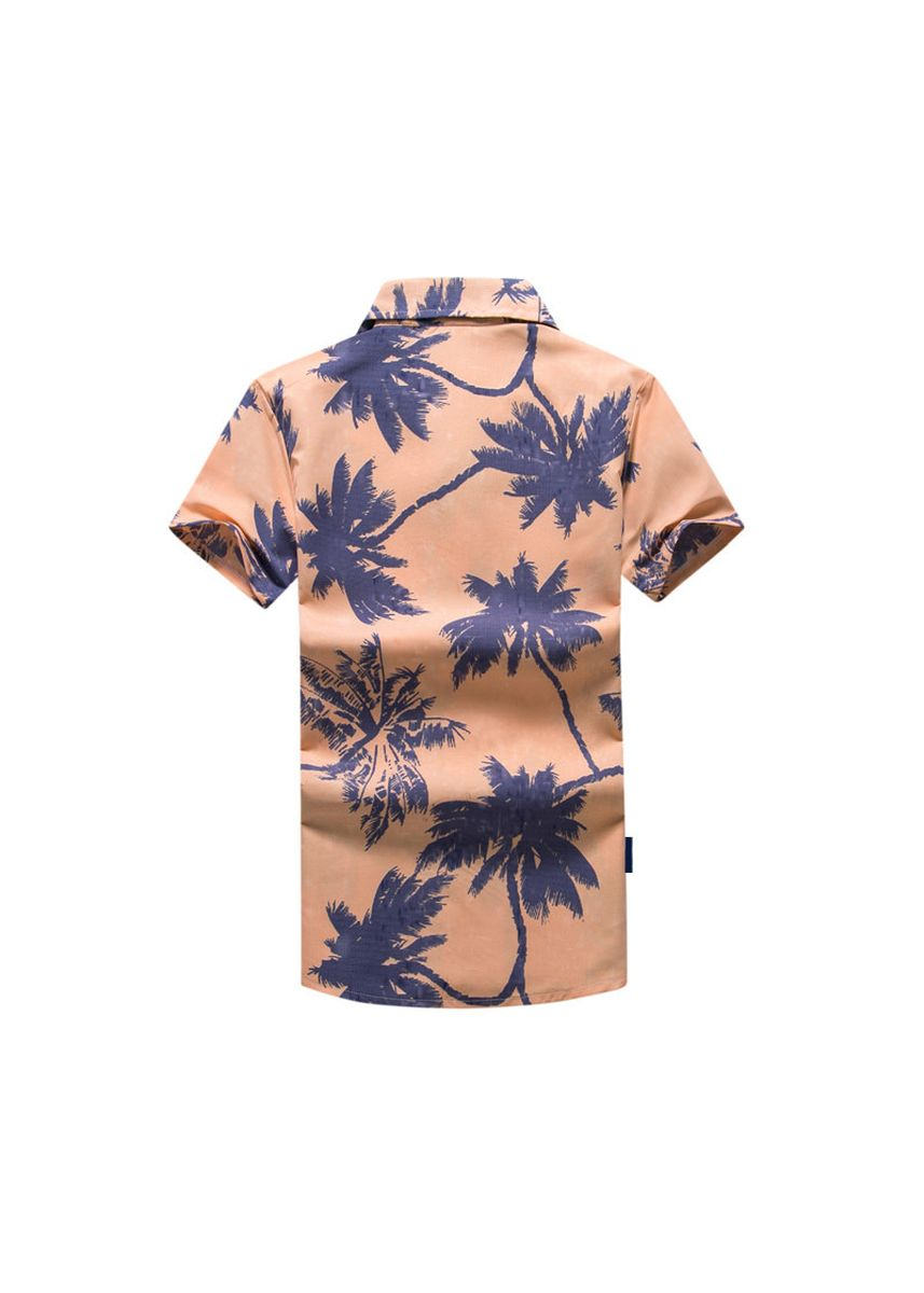 Multi color Casual Shirts . Men's Orange and Violet Short Sleeves Beach Shirt -