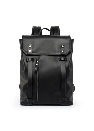 Black color Backpacks . Fashion Leisure PU Leather Large Capacity Students Backpack -