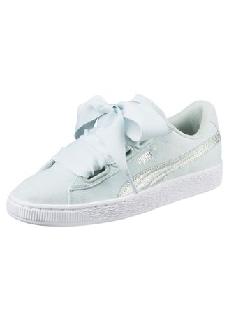 Light Blue color Casual Shoes . PUMA Basket Heart Canvas Women's Puma Shoes -
