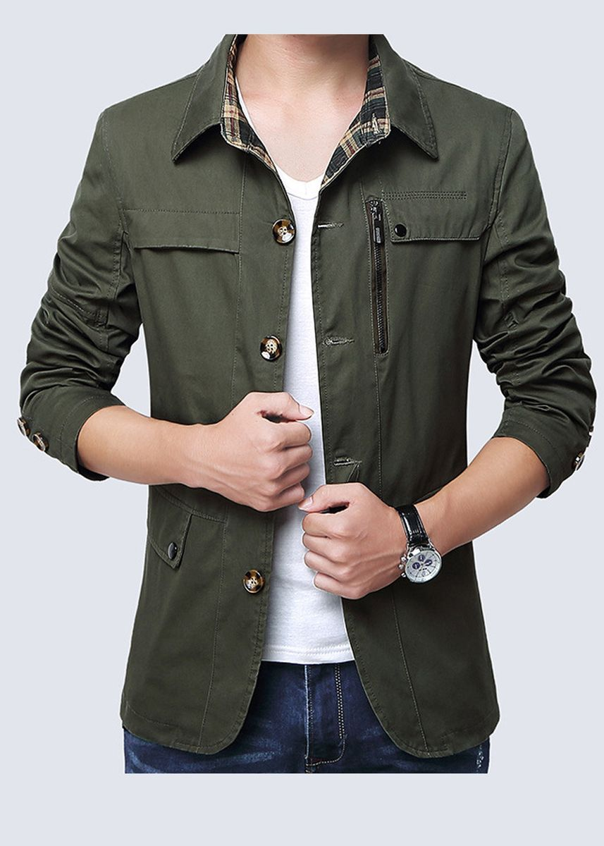 Olive color Jackets . Solid Fashion Casual Men's Jacket -