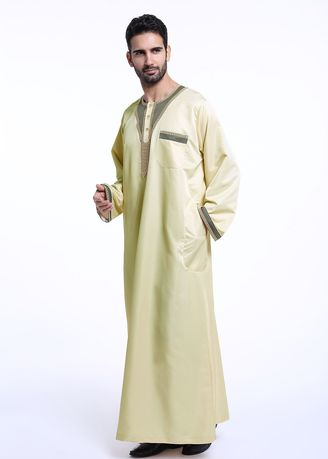 Beige color Koko .  Muslim Men's Printed Round Neck Robes Koko -