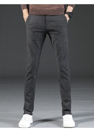 Casual Trousers and Chinos . Men Casual Trousers Checked Stretch Pants -