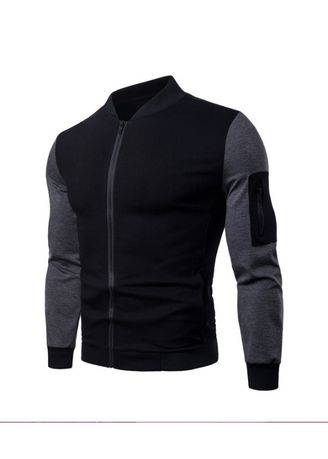 Black color Jackets . British Style Stand Neck Colorblock Jacket -