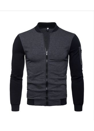 Grey color Jackets . British Style Stand Neck Colorblock Jacket -