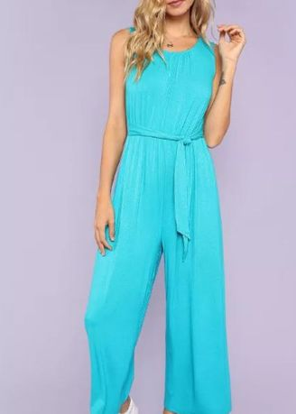Jump Suits . Self Belted Pocket Side Solid Jumpsuit -