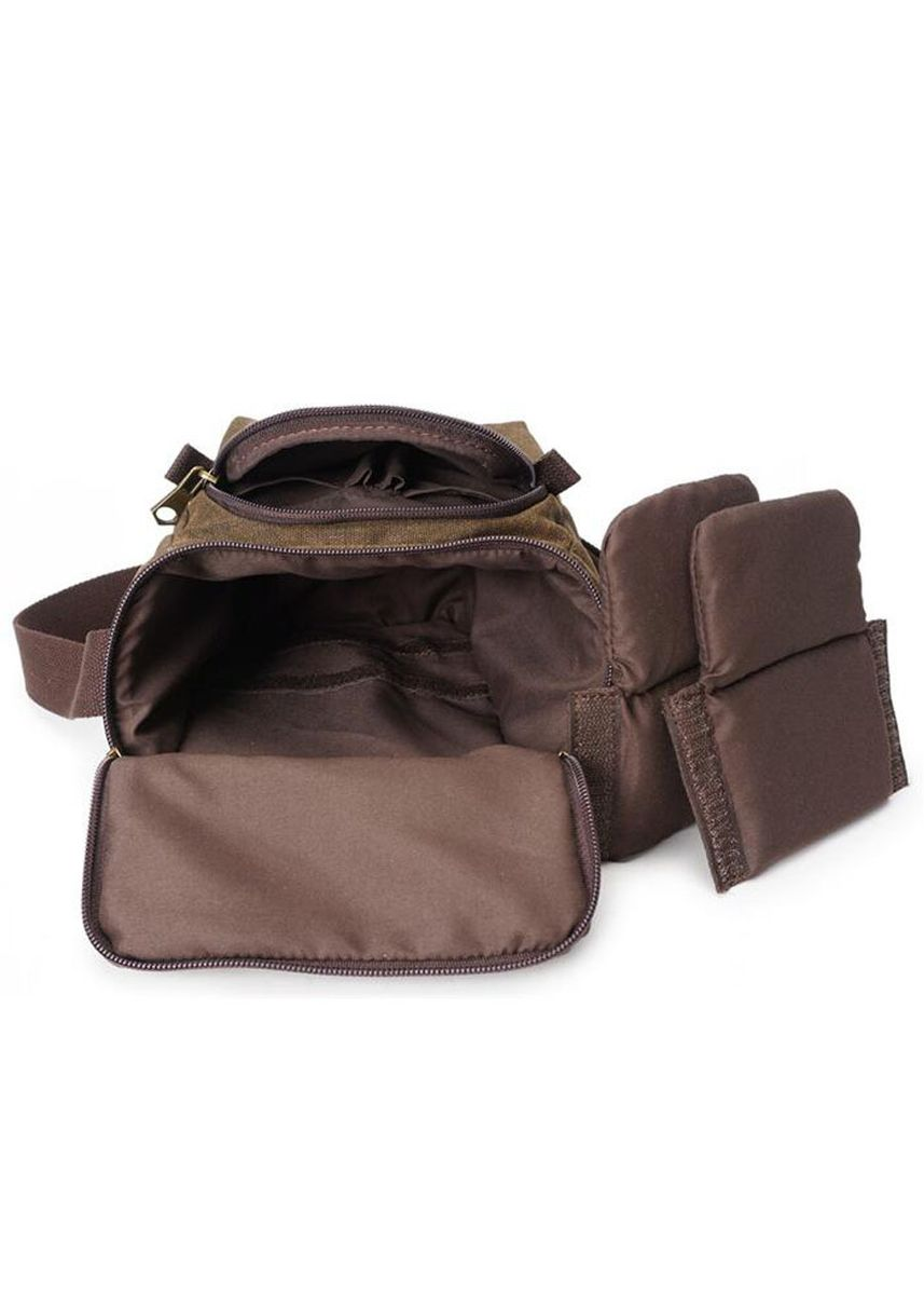 Brown color Messenger Bags . Men's Waterproof Canvas Bag Leather -