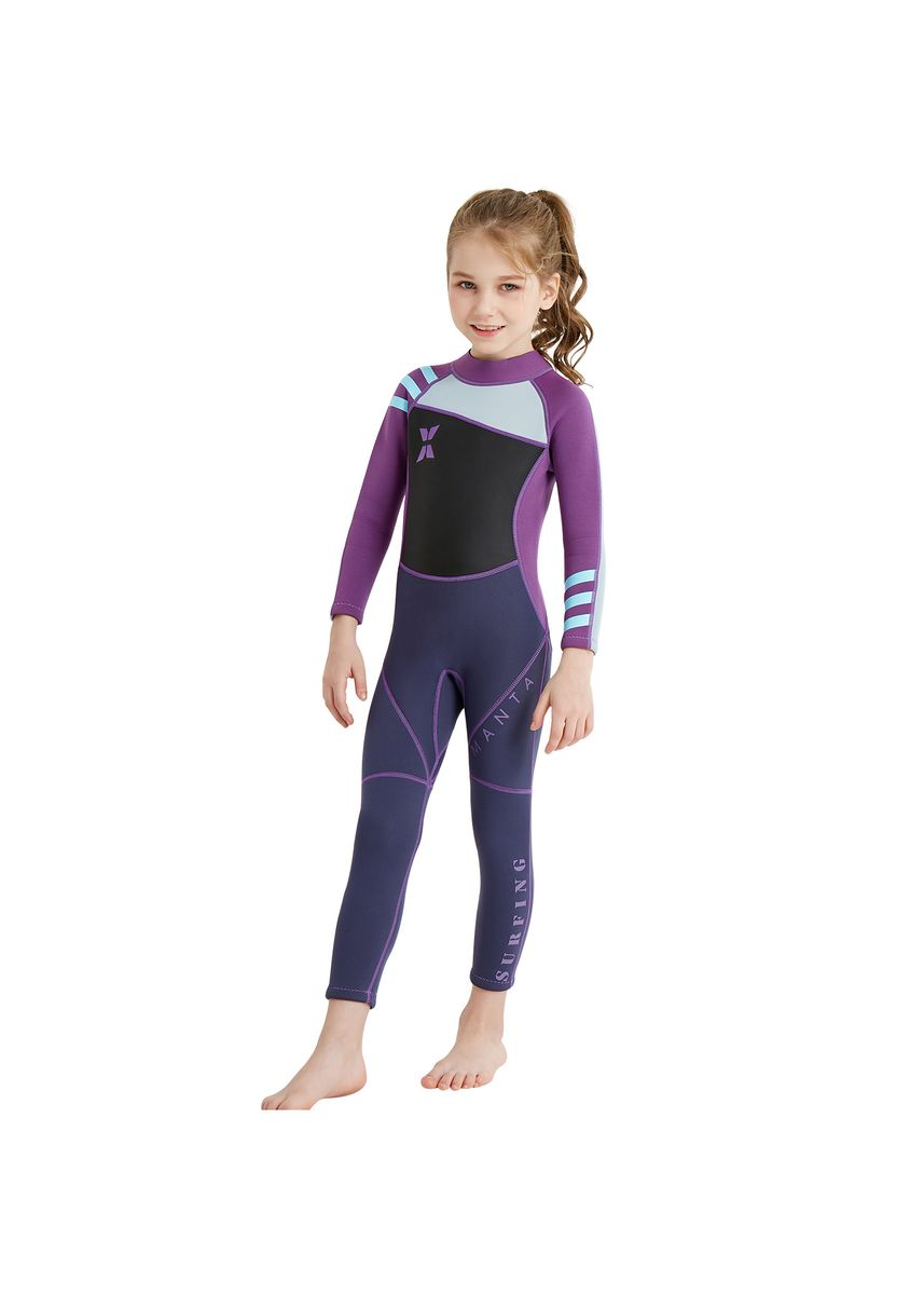 ม่วง color ชุดว่ายน้ำ . 2.5mm children's diving suit surfing sun jellyfish long sleeve diving suit -