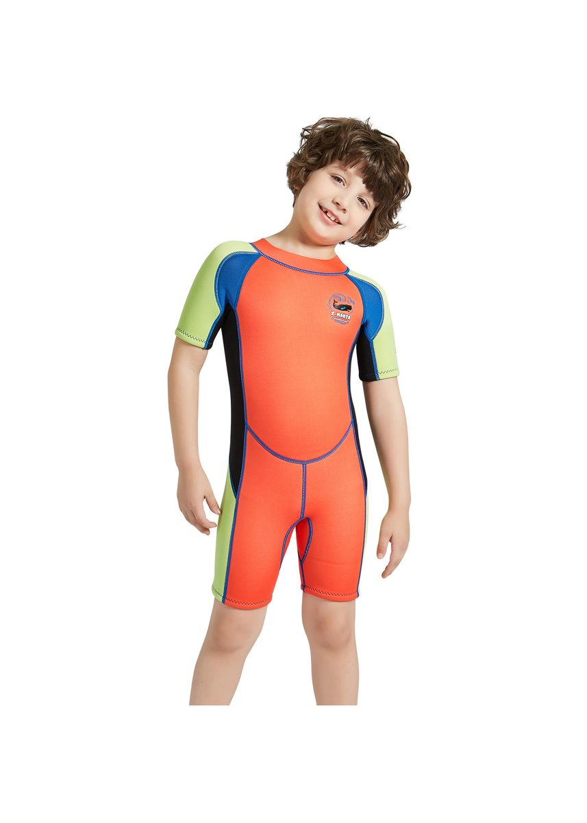 ส้ม color ชุดว่ายน้ำ . Boy's one-piece short-sleeved wetsuit SCR2.5MM -