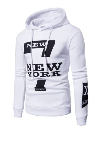 White color Sweatshirts . Men's Fashion Leisure 'New York' Letters Printed Swearter -