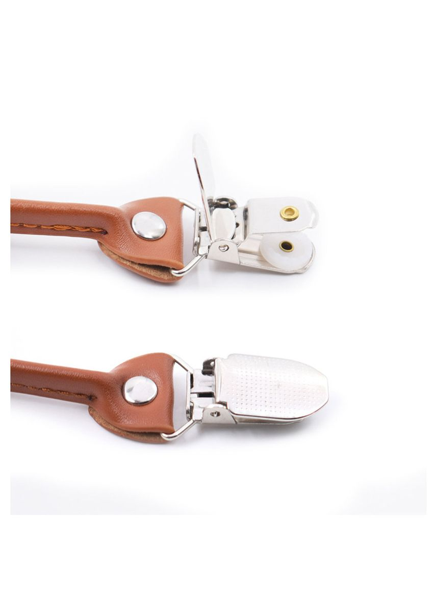 สีเทาอ่อน color สายเอี๊ยม . Men Style Fashion 3.5 cm Adjustable Elastic Suspenders with 6 Clip -