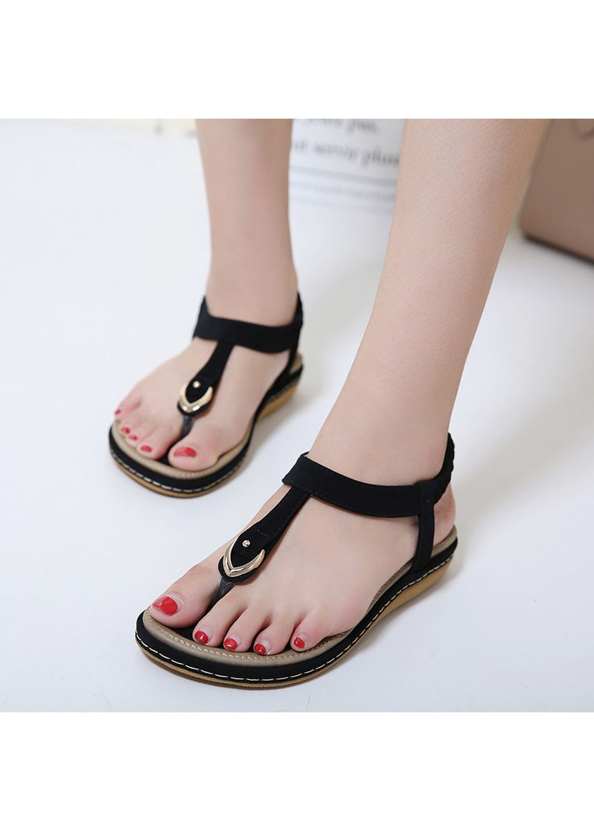 Black color Sandals and Slippers . Fashion Women's Buckle Sandals Comfortable Casual Large Size Female Shoes -